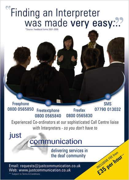 Just Communication Ltd Advert 1