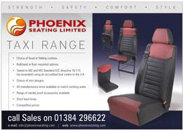Phoenix Seating Half Page Taxi Advert