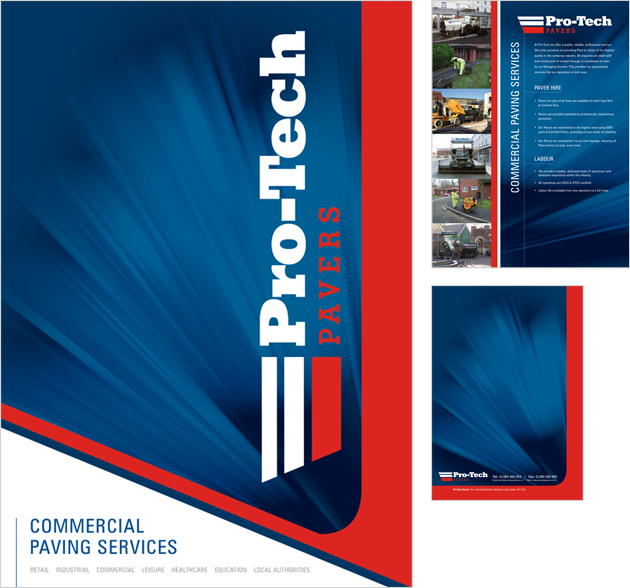 Folder Design for West Midlands Paving Services Provider Pro-Tech Pavers.