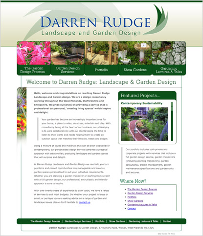Darren Rudge: Garden Design: Website Design - © Six Till Nine