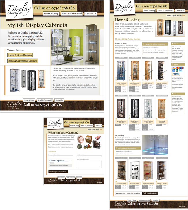 Website Design for Display Cabinets UK. Website Design
