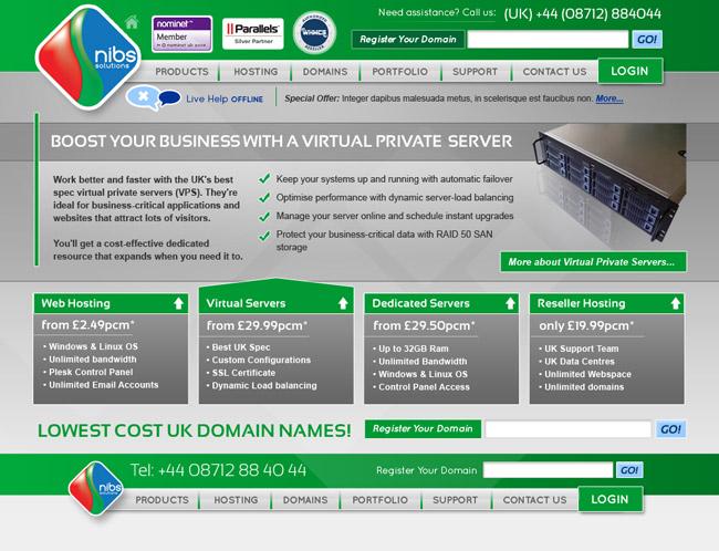 Visual Design for Nibs Solutions website. Website Design
