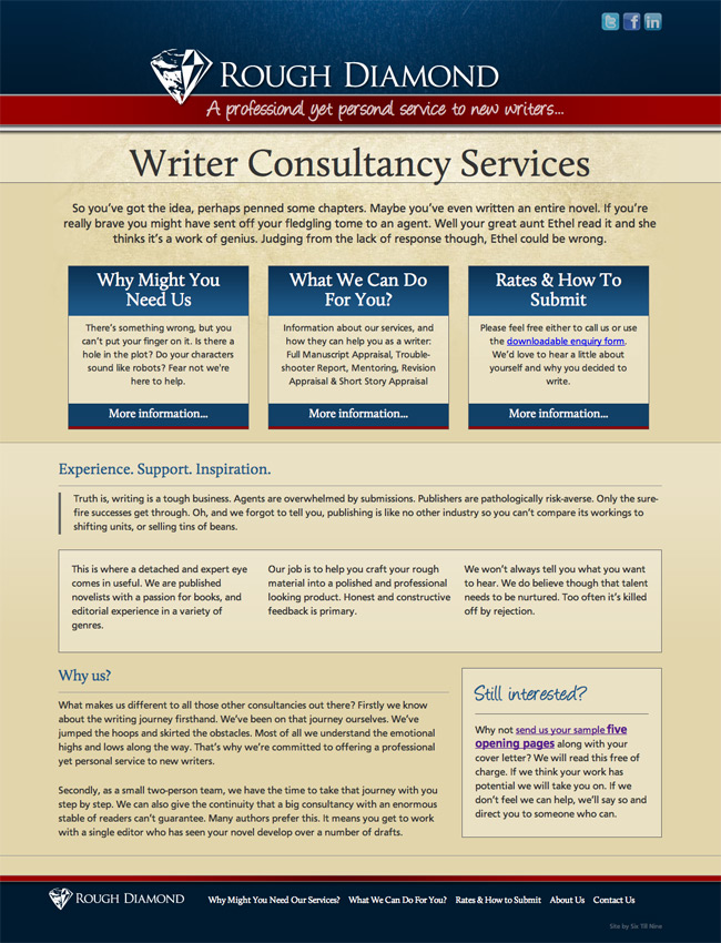 Website Design for Rough Diamond - Writer Consultancy Services. Website Design