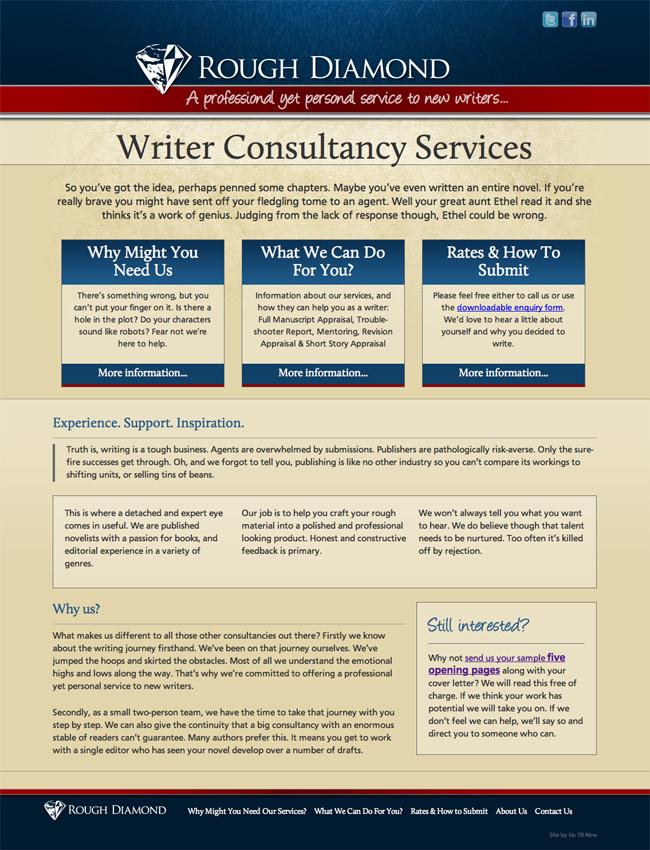 Website Design for Rough Diamond - Writer Consultancy Services. Website Design