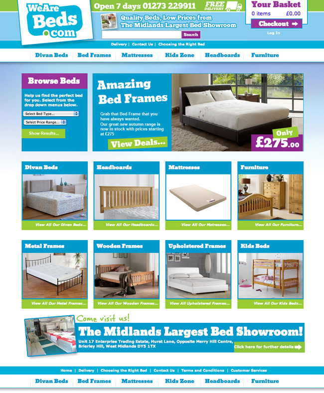 Visual Layouts for We Are Beds website. An online bed & mattress superstore with the Midlands largest bed showroom. Website Design